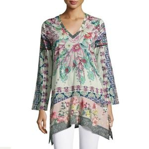 Johnny Was Tribeca Long-Sleeve Floral Tunic XL